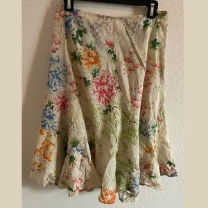 DKNY Watercolor Floral Skirt